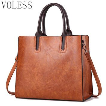 High Quality Oil Pu Leather Women Handbags Famous Brand Large Capacity Women Casual tote bags Fashio Crossbody For Women sac