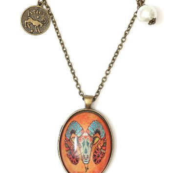 Aries Oval Necklace Antique Zodiac NG43 Faux Pearl Crystal Ram Pendant Vintage Astrology Charm Horoscope