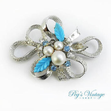 Rare Vintage Francois By Coro 1950's Rhinestone Brooch, Pearl, Blue Glass & Crystal Brooch Pin