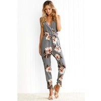Floral Print Jumpsuit Women's Sexy Backless Party Playsuit