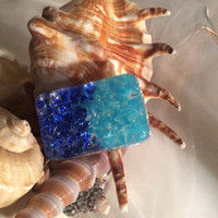 Unique Sea and Sky Resin Brooch.  Beach Jewelry.  Ocean Colors Brooch.