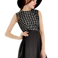 Black Houndstooth Print Mesh Overlay Sleeveless Mini Dress