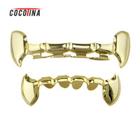 1set Hip Hop Teeth Grillz Gold/silver/rose  Gold Top&bottom Teeth Grillz Personality Hip-hop Fangs Grills COCOTINA D02902