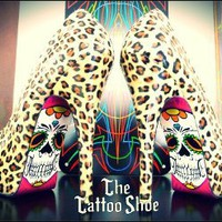 Custom Leopard Skeleton Heels by Tattoo Shoe