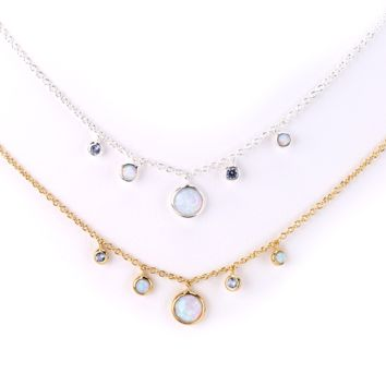 Opal and Blue Topaz Stone Charms Necklace
