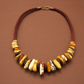 Beaded Multicolored Amber Necklace, Amber Nuggets Statement Necklace, Handwoven Cord, Marbled Yellow White Brown Beads , Sienna Strand, OOAK