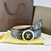 Louis Vuitton  Men Fashion Smooth Buckle Belt Leather Belt