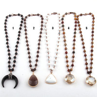 Free Shipping Fashion Bohemian Tribal Jewelry 6mm Semi Precious Stones Pendan Ethnic Necklace-in Pendant Necklaces from Jewelry & Accessories on Aliexpress.com | Alibaba Group