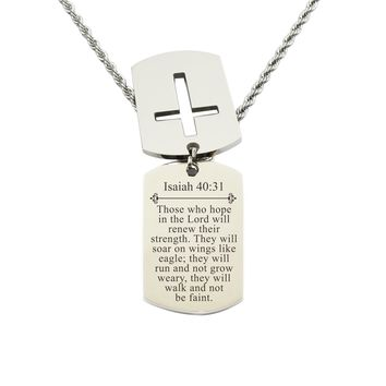 Mens Scripture Double Tag Necklace - Isaiah 40:31