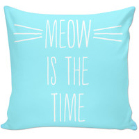 Pastel Blue Meow Is The Time Pillow