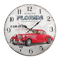 FLORIDA Wall Clock Large Vintage Style 13.50x13.50 Inches Wood Mdf