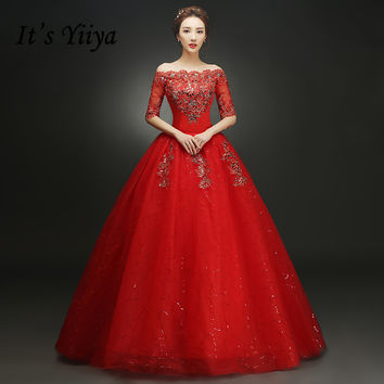 Free shipping YiiYa Red Boat Neck Wedding Dresses Bride Princess Ball Gowns Cheap Bridal Vestidos De Novia Half Sleeves XXN144R