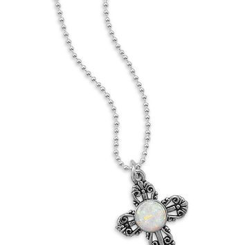 """16"""" Synthetic Opal Filigree Cross Necklace"""