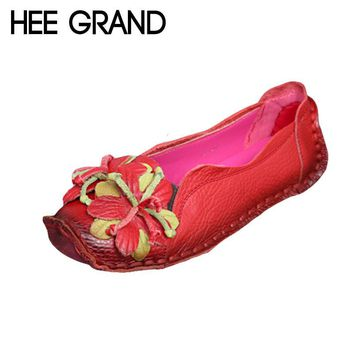 Loafers Woman Super Soft PU Leather Flats Anti-Slippy Flowers Bright Color Shoes Pregn
