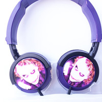 HEADPHONES JOKER BATMAN pc  mp3  music purple arkham comic swag music earphones leger