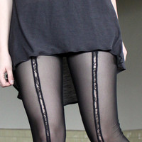 42fc6dc84 Lace Sheer Leggings - grey black mesh with geometric stripe