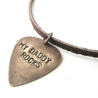 My Daddy Rocks mens necklace - mens gift - guitar pick necklace pic
