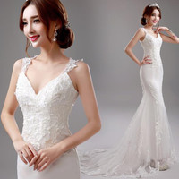 fashionable romantic white lace v-neck backless long mermaid wedding dresses plus size in stock 1881
