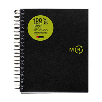 Miquelrius 8.25 X 11.75 A4 Recycled Wirebound Notebook, 4-Subject Graph Paper, Black