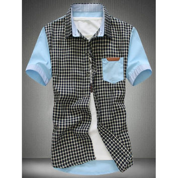 Casual Turn Down Collar Plaid Splicing Shirts For Men