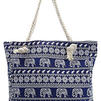 Elephant Canvas Beach Bag - 16.5-in (Blue)