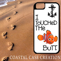 Finding Nemo I Touched The Butt Apple iPhone 4 4G 4S 5G Hard Plastic Cell Phone Case Cover Original Trendy Stylish Design