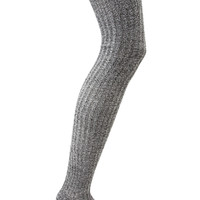 FOREVER 21 Classic Over-The-Knee Socks Black/White One