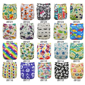 Washable Diapers Couche Lavable 2017 Brand Baby Nappies Animal Pattern Cloth Diaper Bamboo Velour Fitted Reusable Baby Diaper