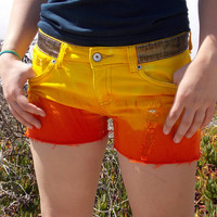 Sunset Colored Hand Dyed Shorts - Summer Outfit - Denim shorts - Size 9 - Bright Yellow