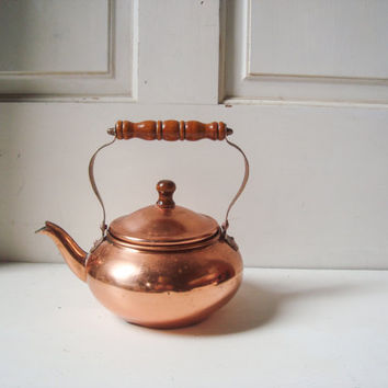 Vintage Copper Small Tea Pot, Decorative Brass Tea Pot, Shabby Chic, French Farmhouse Decor, Cottage Chic Distressed Tea Pot, Photo Prop