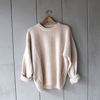Off White Knit Fishermen Sweater Oversized Preppy Pullover Loose Knit Boyfriend Sweater Minimal Unisex Spring Sweater Men's XL