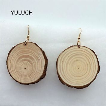 Natural African wood earrings jewelry