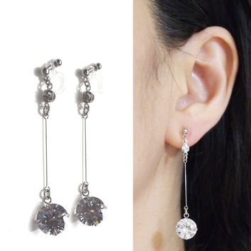 Bridal Cubic Zirconia Clip Earrings, Wedding CZ Invisible Clip on Earrings,Comfortable Dangle Crystal Clip on Earrings, Non Pierced Earrings