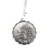 SARAH COVENTRY 'Monday's Child' Charm Pendant on Necklace from 1976 Everyday Child Collection,Collectible Sarah Coventry Jewelry