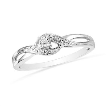 Sterling Silver Round Diamond Promise Ring (1/20 Cttw) Size: 6.75