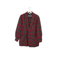vintage PENDLETON wool shirt - red & green tartan plaid flannel - made in usa -