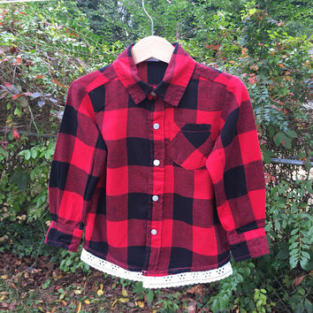Girl Flannel, 2T Flannel Top, Flannel w/Lace, Monogram Flannel, Fall Flannel, Flannel Shirt, Flower Girl Flannel, Pageant/Dance Coverup,
