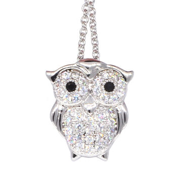 Dear Deer White Gold Plated Cubic Zirconia Cute Owl Pendant Necklace