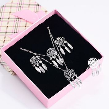 Fashion Rings Necklace Bracelet Earrings Jewelry Set Women Dream Catcher Jewelry Accessory