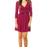 Jayme Wrap Dress in Burgundy - ShopSosie.com