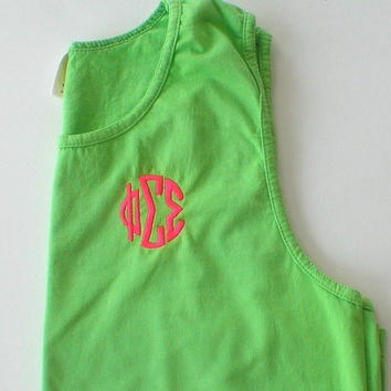 Sorority Monogram Tank Top Comfort Colors Spring Break Beach Wear Swim Suit Cover Sorority Rush Custom Embroidery