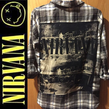 Handmade Nirvana vintage concert tee & flannel shirt top. Ladies medium - large.