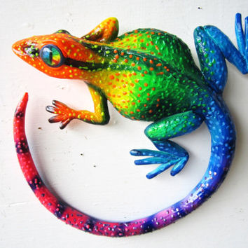 Gecko art sculpture wall decor
