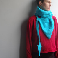 Linen Scarf, Asymmetric Linen Loop scarf, Unique Accessory, Infinity linen scarf, Turquoise Linen