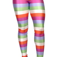 Colorful Horizontal Stripes Leggings Design 57