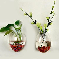 Wall Glass Terrarium Plants Flower Container Indoor Hanging Vase Home Decor