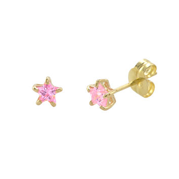10k Yellow Gold Pink Star Stud Earrings Cubic Zirconia
