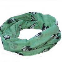 Beautiful Soft Over Sized Panda Print Scarf / Shawl -  Green Colour