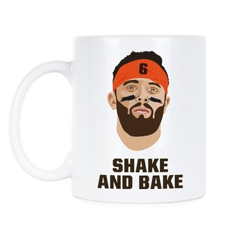 Baker Mayfield Mug Baker Mayfield Shake and Bake Coffee Mug Browns