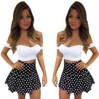 Women Sexy Off Shoulder Dress 2 Pieces Set Dress Bodycon Bandage Party Mini Dress vestidos femininos IWY66